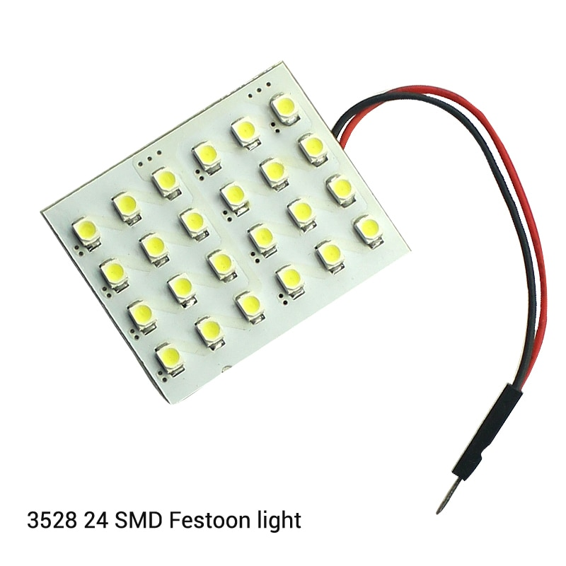10xcar festão interior luz branca 12v t10 3528 24 smd 1210 smd led luz do painel de leitura automática cúpula