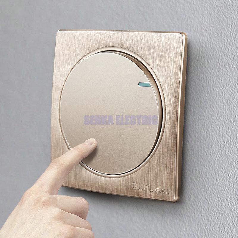 Nova chegada luxo ouro interruptor de parede 1 gang 1 way breve ac 110 switch 250 v interruptor de parede do painel redondo
