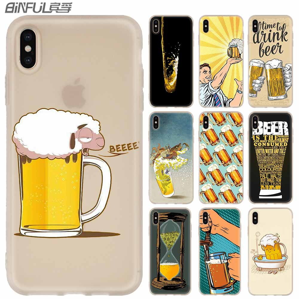 Силиконовый мягкий чехол для iPhone 11 Pro 2019 X XS Max XR для iPhone 5 5S SE 6S 6 4 4S 7 8 Plus пиво 2020
