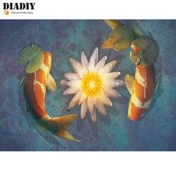 "5D DIADIY Novo Cheio de Diamantes Pintura Diamante DIY ""Dois carpa koi Fish"" Animal Bordado Ponto Cruz Strass Mosaico adesivos de parede"