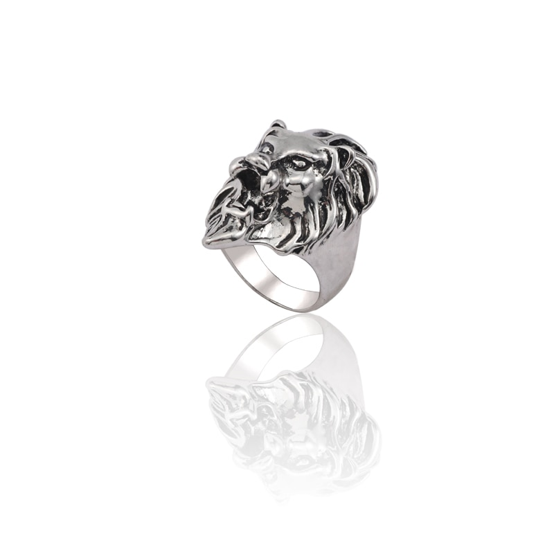 Anillo Vintage Hip Hop, anillos con cabeza de león para hombres, anillos de animales góticos Punk para niños, anillo Unisex para dedo, joyería de regalo para Navidad para hombres