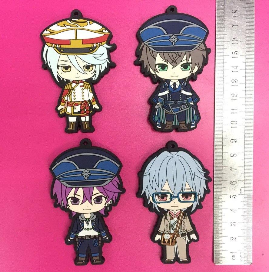 4 unids/lote DIABOLIKLOVERS de gran tamaño Anime llavero Yui Ayato Kanato Laito Ruki Yuma Sakamaki Reiji Subaru correa de caucho/teléfono encantos