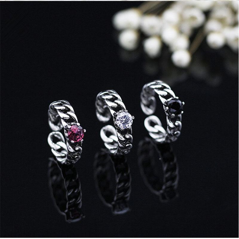 Anenjery tricolor vintage zircon abertura anéis trançado corrente preto auger 925 sterling thai prata anel para mulher S-R113