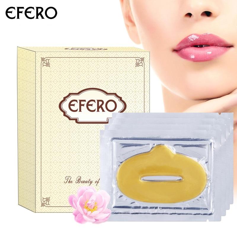 efero 15packs Gold Crystal Collagen Lip Mask Anti-aging Anti Winkles Lips Skin Repair Patch Moisturizing Essence Lips Mask Pads
