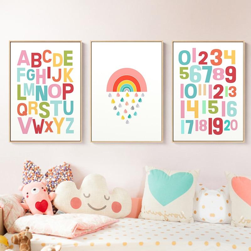 Género Neutral arte de pared alfabeto impresión para dormitorio infantil póster de arcoíris Kawaii decoración pintura en lona imágenes de pared chicas decoración de la habitación
