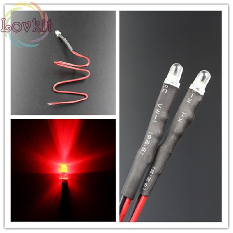 50 Uds precio de fábrica de alta calidad de resistencia con cable 3MM redondo superior rojo 12V DC 20CM LED DIY coche lámpara de diodo emisor de venta al por mayor