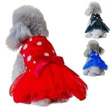 Summer Dog Mesh Dress Small Dog Wedding Tutu Dress Bow Knot Skirt for Small and Medium Dogs roupa cachorro