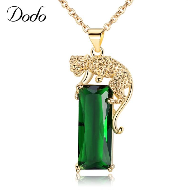 Moda verde geométrica pedra zircão pingente colar legal animal chita cor de ouro colares mulher masculino acessórios presentes n348