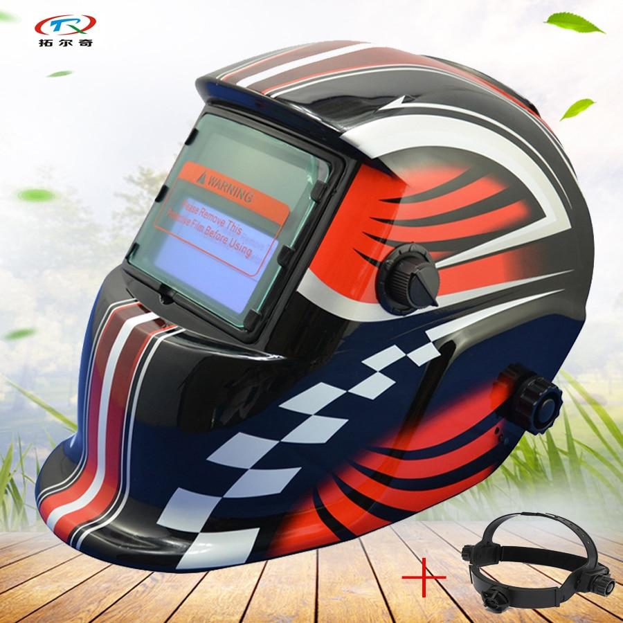Malerei Schweißhelm aufkleber Rot schwarz optoelektrische Halbautomatische schweißen Maske Helm solar und batterie Mig Tig HD02 (2233FF) H