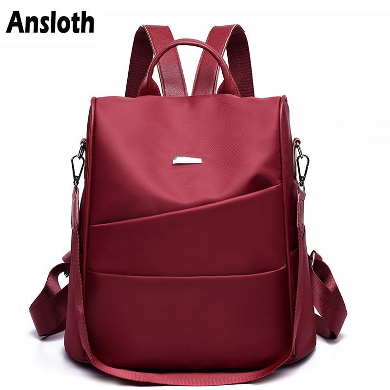 Ansloth Oxford Backpack For Teenage Girls Solid Color Schoolbag Anti-theft Backpack Women Big Travel Bag Female Backpack HPS348