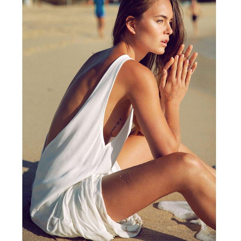 Nuevo vestido informal de chifón para playa de talla única, vestido de verano sin mangas Blanco sólido sexi con escote en V, Vestidos de espalda, Bikini, Vestido tipo pareo