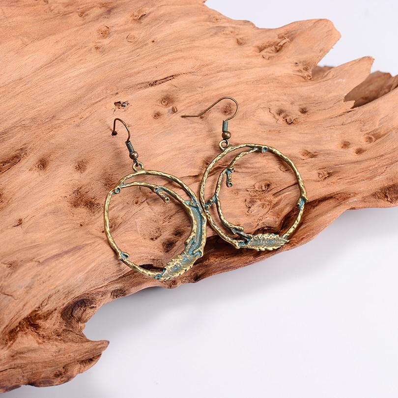 2018 Newest Big Round Drop Earrings For Women Geometric Bronze Branch Design Fashion Earring Female Boho Indian Jewelry