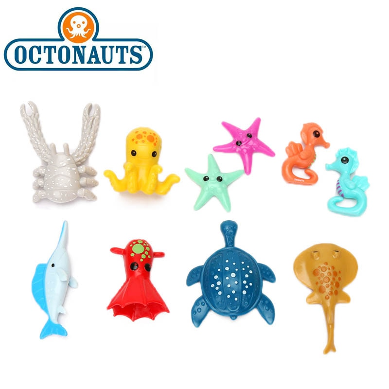 4-8,5 cm octonautas juguetes octonautas accesorios caballito de mar estrella de mar pez vela Leatherback mar turquesa PVC figura de acción suministros para fiestas