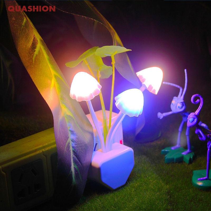 Novelty Night Light EU & US Plug Induction Dream Mushroom Fungus Luminaria Lamp 220V 3 LED Mushroom Lamp led night lights