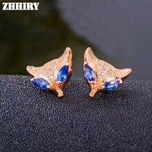 ZHHIRY naturel bleu saphir boucles doreilles véritable pierre gemme solide 925 en argent Sterling véritable boucles doreilles femmes bijoux fins