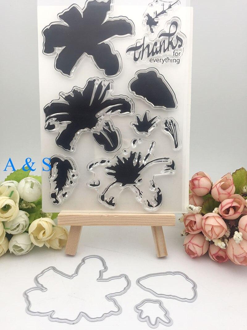 Z53 gracias flor hoja de Metal troquelado transparente claro sello para Scrapbooking DIY repujado carpeta plantilla artesanías