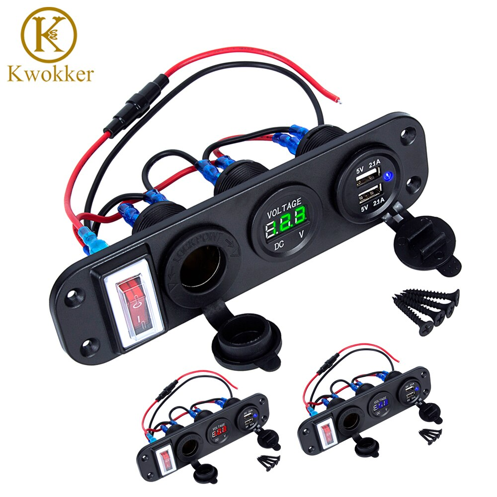 4 in 1 New Digital Voltmeter+12V Power Socket +Dual USB Power Charger Adapter Cigarette Lighter Socket with Rocker Switch
