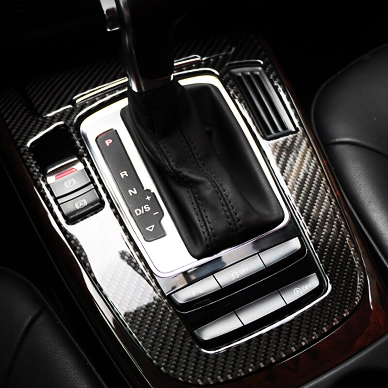 Para Audi A4 B9 A5 Q5 consola central de fibra de carbono cubierta de cambio de marchas pegatinas decorativas adornos interiores estilo