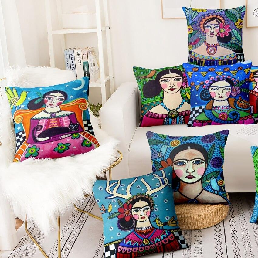 home Pillow Decoration Mexican Girl Painting Cushion Decorative Pillow Home Decor Almofadas Decorativas Para Sofa Throw Pillow