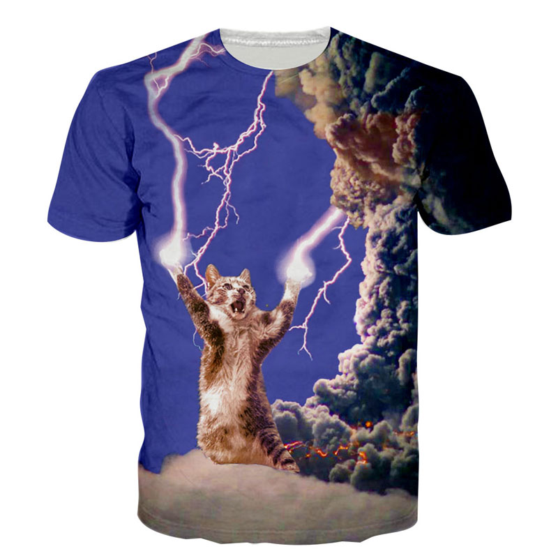 Ropa camiseta de hombre efecto 3D Thunder diseño de gato Hawaii Trump pulpo tierra estilo de verano para hombre camisetas divertidas Dropship