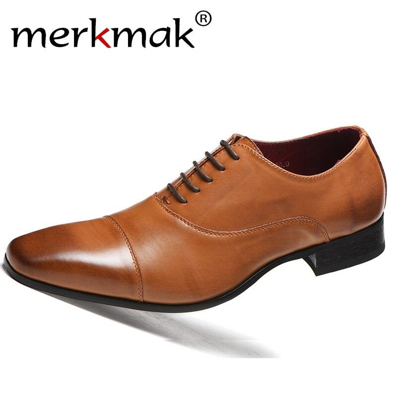 merkmak High Quality Men Dress Shoes Leather Men Shoes Fashion Men Wedding Shoes Comfortable Formal Shoes Drop Ship