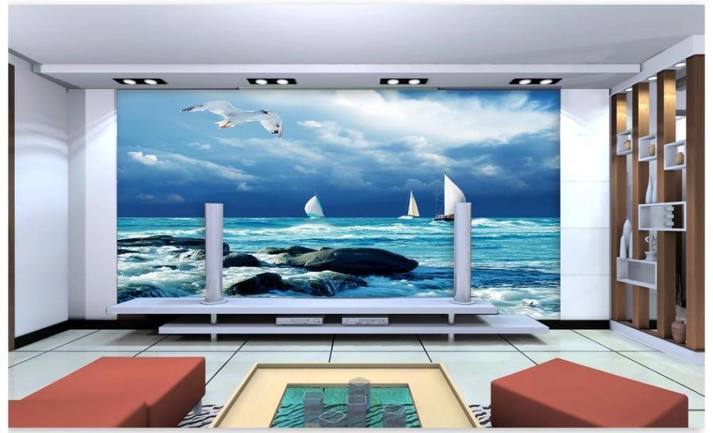 Индивидуальные 3d фото обои настенные фрески росписи морской пейзаж Море ТВ