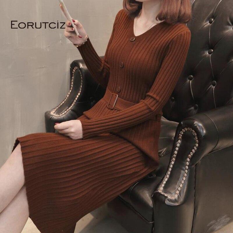 EORUTCIZ Winter Tunic Dress Women Knitting Slim Autumn Dress Black V Neck Warm Long Sleeve Basic Sweater LM148