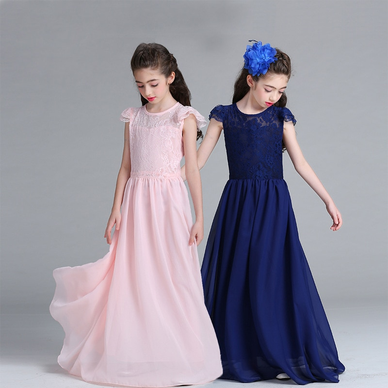 Children Girls Clothing Short Sleeve Summer Lace Princess Wedding Dress Girls Teenager Chiffon Party Long Prom Dress  TZ258