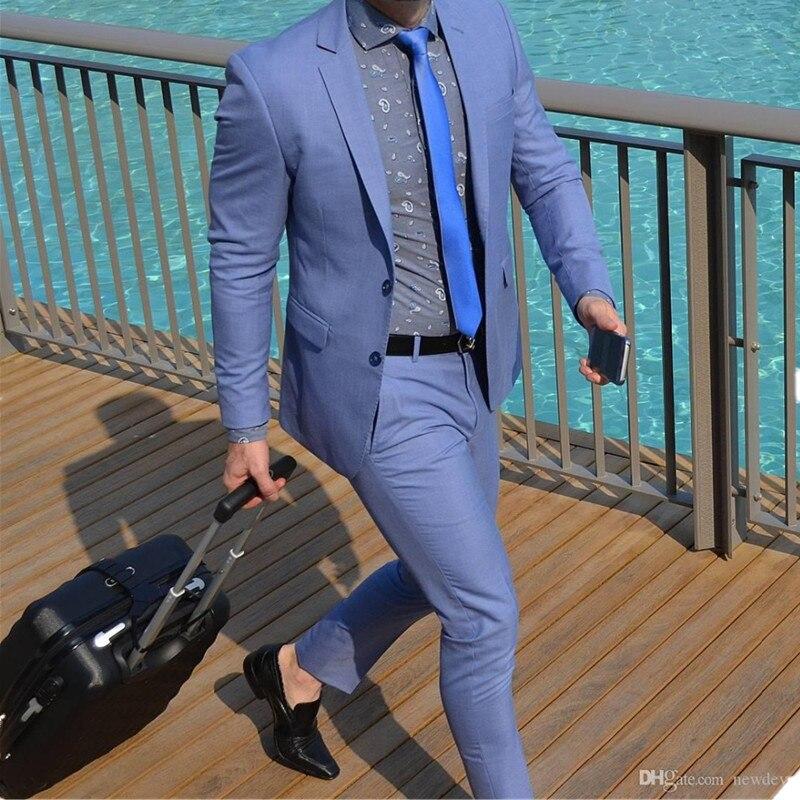 بدلة زفاف رسمية للرجال ، بدلة عمل ، بدلة زفاف ، بدلة رسمية ، جاكيت وسروال ، أزرق ، عرض خاص