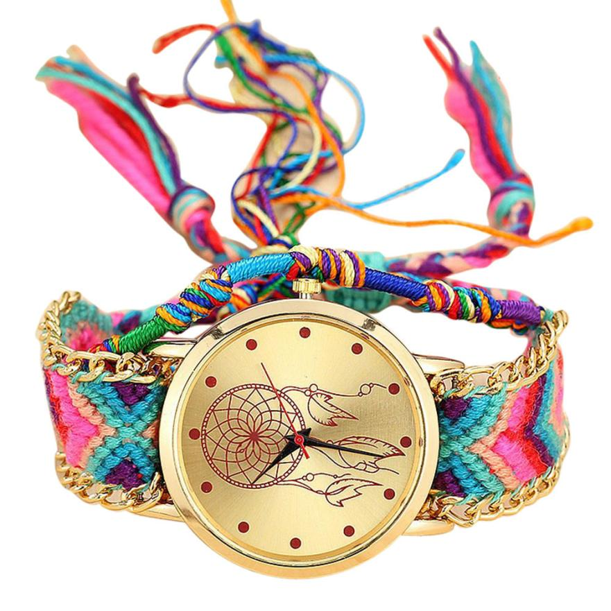 Reloj con brazalete de Amistad Vansvar, reloj con cuerda trenzada para mujer