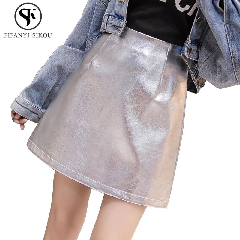 2018 otoño invierno nuevo plata charol Falda Mujer moda alta cintura Mini A-Line falda señoras Casual elegante faldas negro