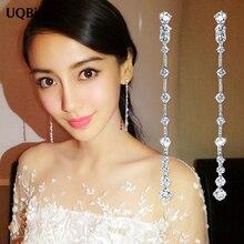 Bon bijoux mode pur 925 en argent Sterling boucles doreilles longues zircone cristal boucles doreilles bijoux Pendientes Brincos