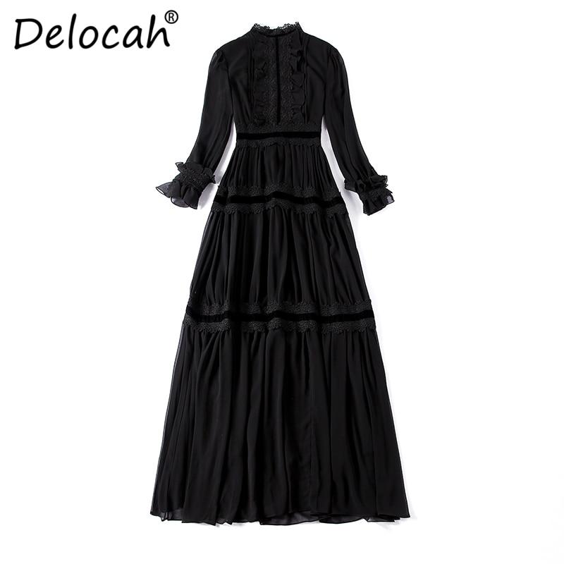 Delocah Runway Fashion Design Black Dress Women Long Sleeve Maxi Dresses Lace Patchwork Ruffles Elegant Long Party Dress