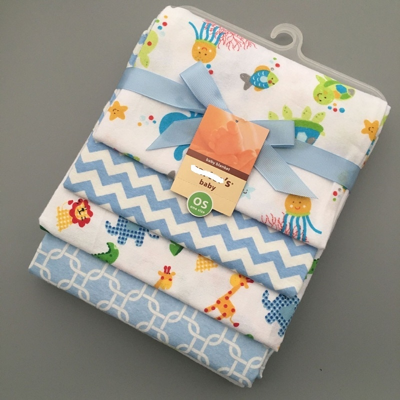 4 unids/lote de sábanas de franela para recién nacidos, juego de ropa de cama de 76x76cm para recién nacidos, manta de algodón 100% barata para niños y niñas