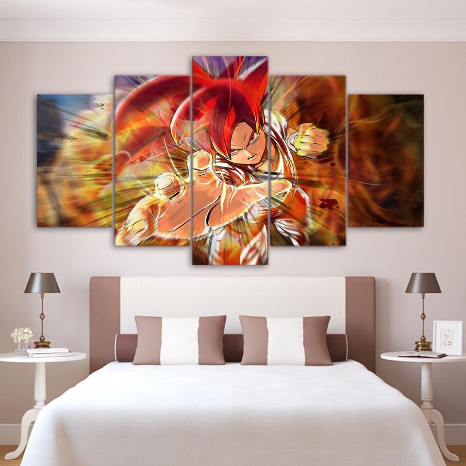 Cuadros marco pintura Modular HD impreso decoración 5 Panel Dragon Ball Super Warrior hogar Pared de salón arte moderno lienzo