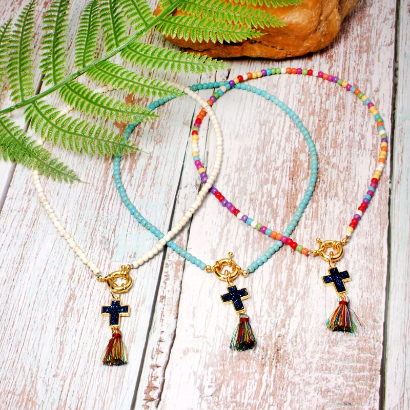 Lua menina colorida cruz borla gargantilha boêmio colar na moda chique yoga bib collier femme menina jóias dropshipping