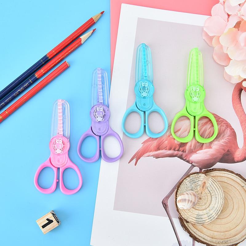 Children Handmade DIY Safety Plastic Laciness Photo Album Diary Paper Mini Scissors Decoration Random