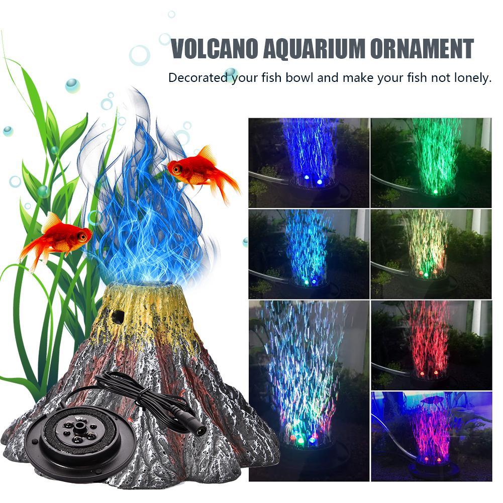 RGB LED Volcano Resin Light Aquarium Lamp Waterproof Underwater Spotlight  Fish Tank Decoration Air Stone Bubbler Fish Toy