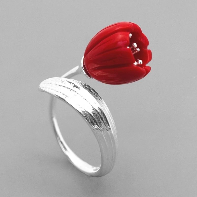 INATURE 925 argent Sterling rouge corail muguet fleur anneaux ouverts pour les femmes bijoux de mariage