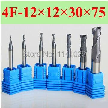 4F-12*12*30*75, HRC50, Espiral Ferramentas Bit Fresagem CNC Carbide flat End mills Router bits, a ferramenta de torno, chato bar, cnc, máquina de