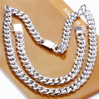 Joyería de moda al por mayor, Juego de 2 piezas de Asa cuadrada de 10 MM, collar y pulsera chapados en plata 925 estampados, bisutería masculina