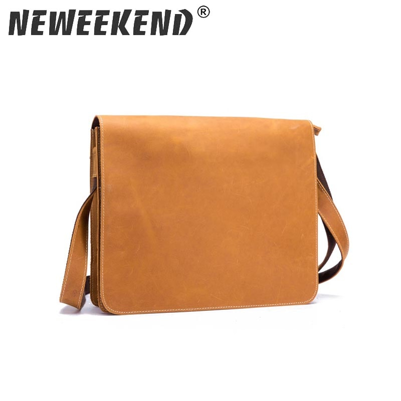 Neweekend  The new leather men's bags inclined bag,High-capacity pure color clamshell single shoulder bag A063