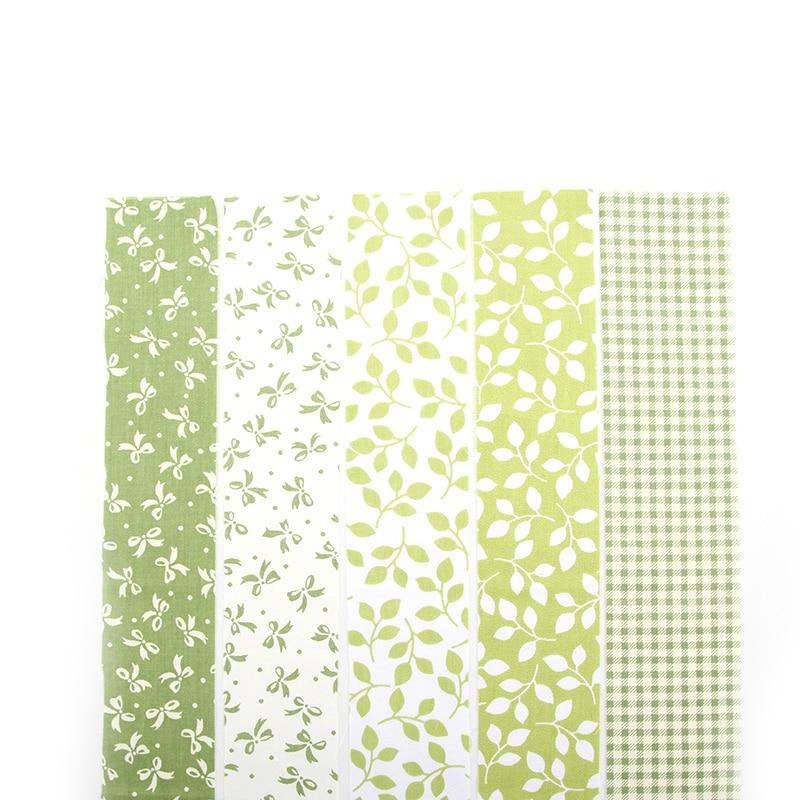 NOVA 5 Cores Verde Floral Patchwork Algodão Tiras de Tecido tissu Costura Retalhos de Tecido Para O Saco Chapéu Do Bebê Boneca de Pano ZH1-6