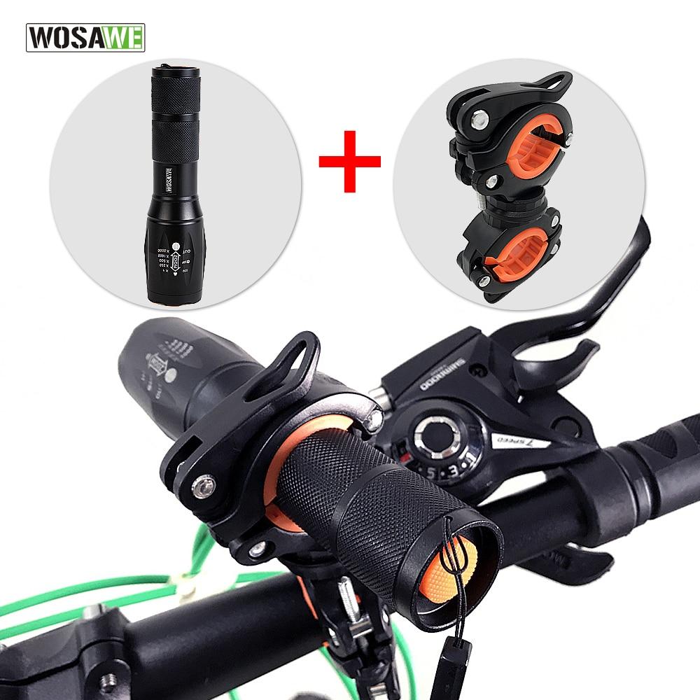 Wosawe 1000 lumen mtb bicicleta luz t6 led zoom à prova dwaterproof água lanterna tocha titular recarregável 5 modos acessórios da bicicleta