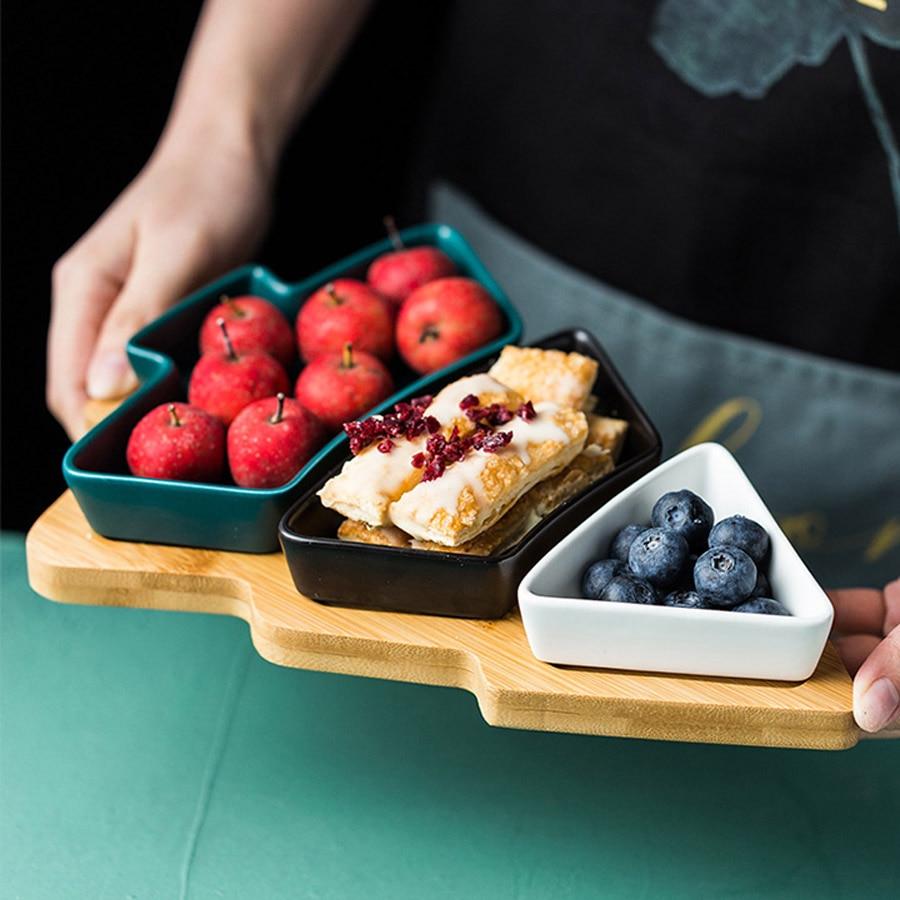 MUZITY Ceramic Dessert Plates Christmas Trees Design Fruit Plates with Bamboo Tray Holiday Gift