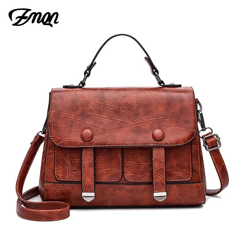 ZMQN Ladies Hand Bag For Women Messenger Bag Famous Brand Vintage PU Leather Women Handbag Pocket Kabelky Female Bag Luxury C255