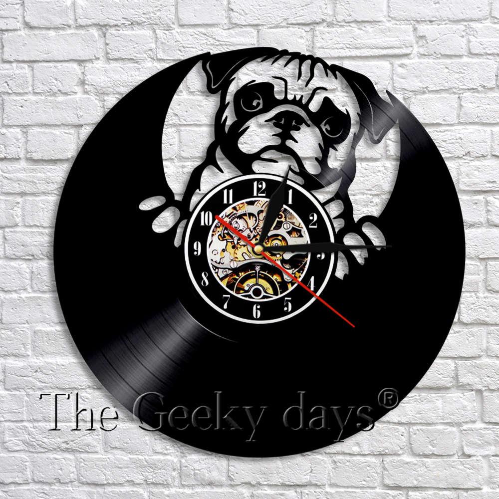 Encantador perro Bulldog británico disco de vinilo, reloj de pared led de diseño moderno Animal cachorro Relojes de pared vivero Arte de la pared Decoración
