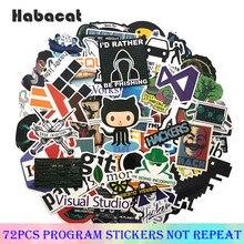 72 unids/pack programación pegatinas de grafiti Hacker pegatinas Java C + + para equipaje portátil monopatín de la motocicleta Papeleria y Oficina