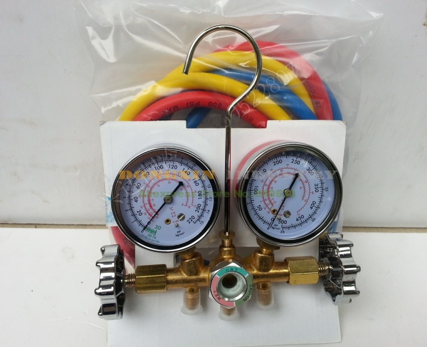 Hvac R12 R22 R502 refrigerant manifold pressure gauge refrigeration charging tools air conditioning A/C free shipping hs 1222 r22 refrigeration charging adapter retention control valve