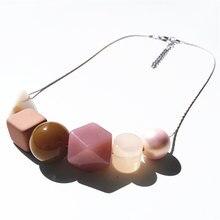 Pink Stone Geometric Crystal Wood Beads Neon Summer Fashion Pendant Choker Statement Women Necklace Sweater Chain Jewelry